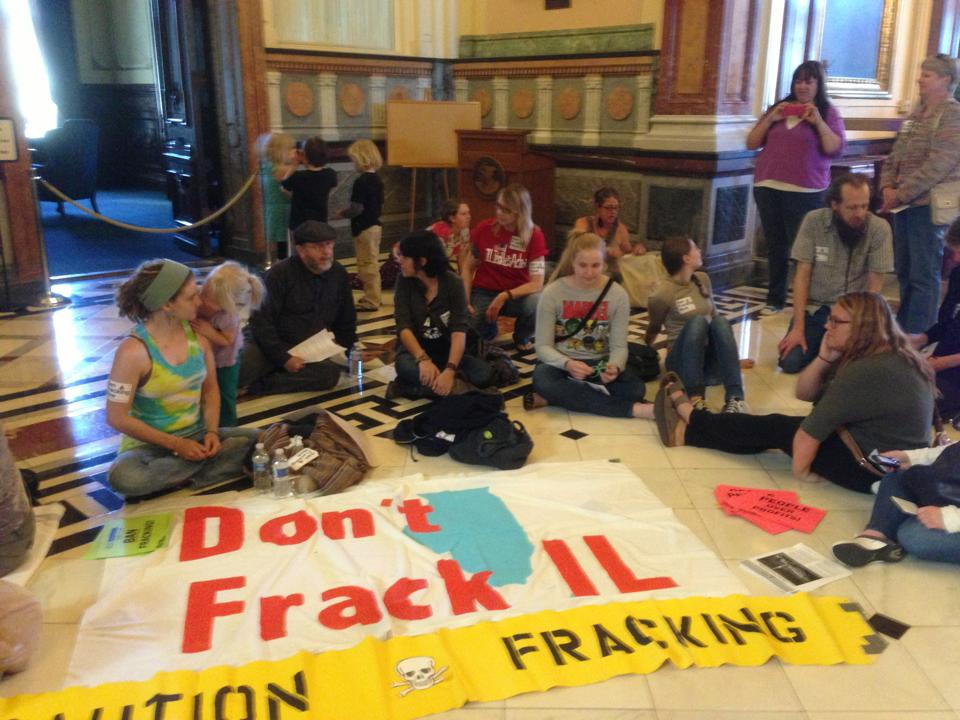 Fracking protestors during sit-in outside the Governor's office (Source:DeSmogBlog.com)