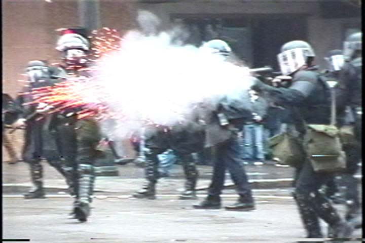 WTO Seattle: WTO protests in Seattle, 1999. (Courtesy of Portland IndyMedia)