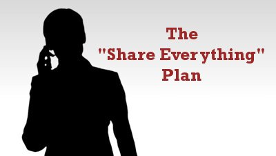 """Share Everything"" Plan (silhouette of woman on phone)"