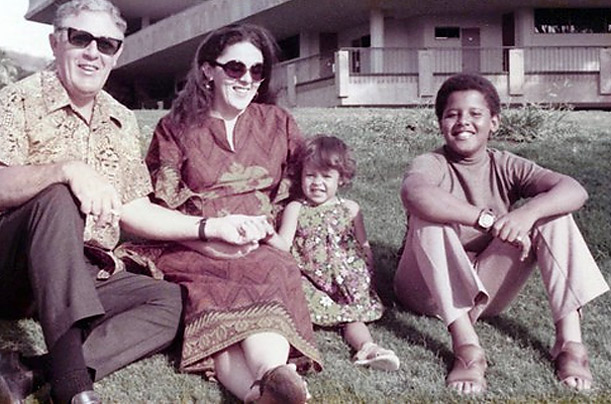 Obama and his mother, half-sister, and maternal grandfather