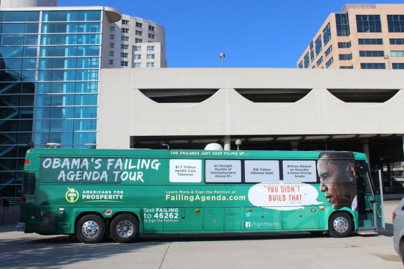 "AFP's ""Obama's Failing Agenda"" bus (Source: Callen Harty)"