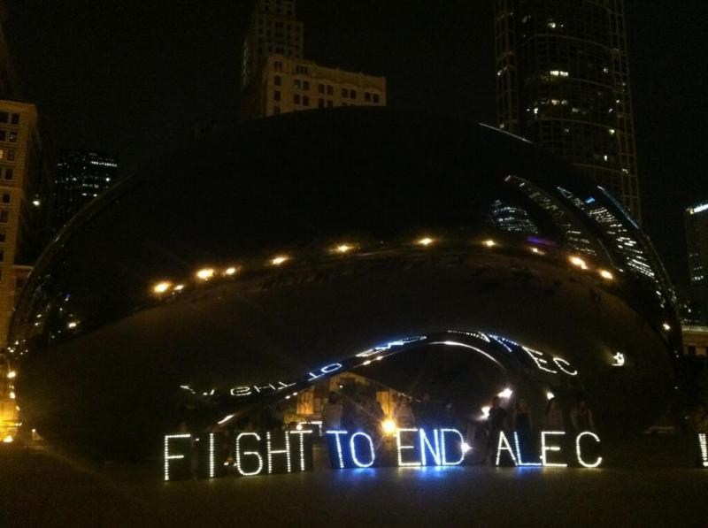 "Light-up letters that spell ""Fight to End ALEC"" (Source: Working America)"