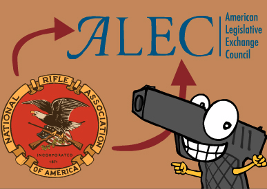 ALEC and the NRA (Illustration by Mark Fiore)