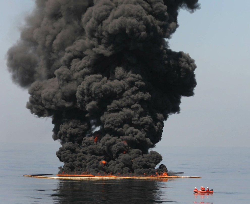 Oil pooled on the surface is burned in the Gulf, polluting the air
