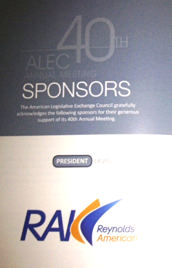 2013 ALEC Brochure lists Reynolds tobacco at the top