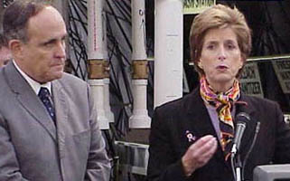 Christine Whitman and Rudy Giuliani near New York's Ground Zero.